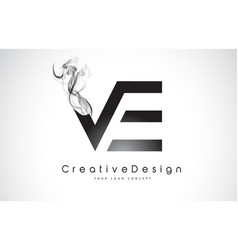Ve letter logo design with black smoke vector