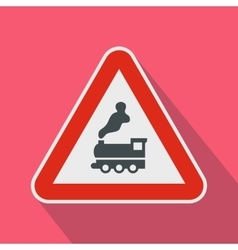 Warning sign railway crossing without barrier icon vector