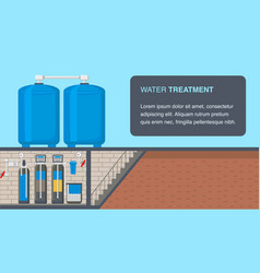 Water treatment system web banner with text space vector