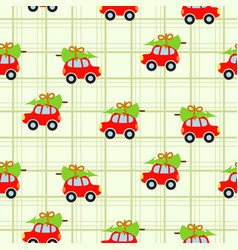 Winter tree on car roof green checkered seamless vector