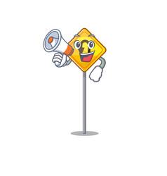 with megaphone u turn sign on edge road cartoon vector image