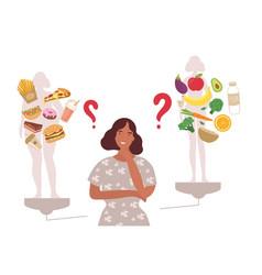 Woman choosing between healthy and unhealthy foods vector