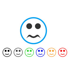 worried smile rounded icon vector image