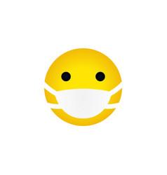 Yellow emoticon medical mask vector