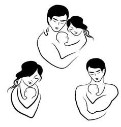 family icon symbol parents sketch vector image
