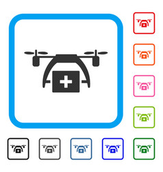 first aid drone framed icon vector image vector image