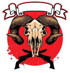Goat skull head with crossed guns vector image