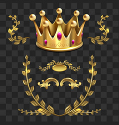 golden heraldic elements kings crown vector image vector image