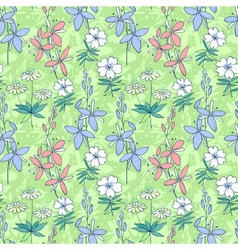 Green wild flowers seamless pattern vector image