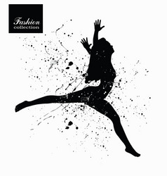silhouette of the fashionable woman with paint vector image