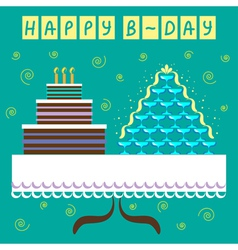 Birthday greeting card with big cake vector image vector image