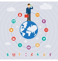 business around the world vector image vector image