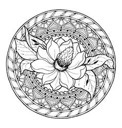 Circle summer doodle floral mandala vector image