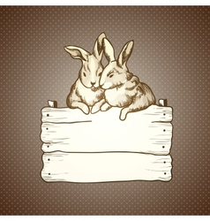 couple of easter rabbits on brown dots background vector image