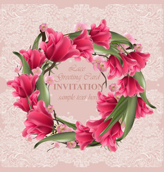 greeting lace card with floral wreath vector image vector image