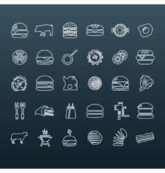 hamburger outline icons vector image