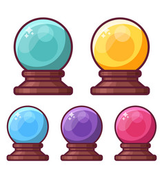 magic crystal sphere or glass ball icons vector image vector image
