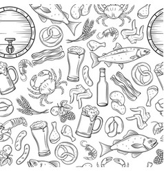 seamless pattern pub food and beer vector image vector image