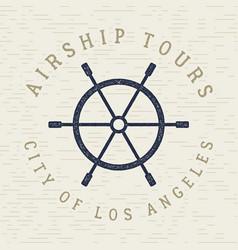 vintage airship tee design retro dirigible poster vector image vector image