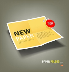 Yellow Paper Folded four fold for business vector image vector image