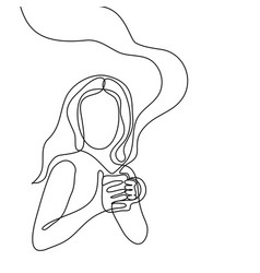 Abstract portrait of a woman with cup of tea vector