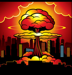 burning city with nuclear explosion of atomic bomb vector image