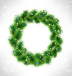 Christmas wreath like frame in snowfall on vector image