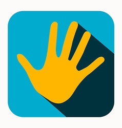 Orange Palm Hand Icon in Blue Rounded Square vector image