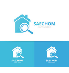real estate and loupe logo combination vector image