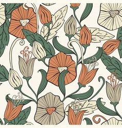 seamless floral funky pattern vector image