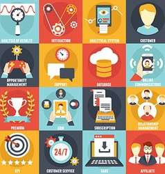 Set of Customer Relationship Management Icons vector image vector image