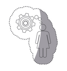 Sticker silhouette of woman thought in a pinion vector