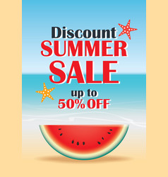 summer sale beach and watermelon background vector image