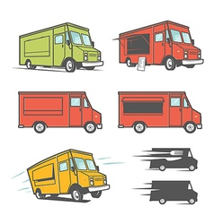 Set of food trucks from various angles vector