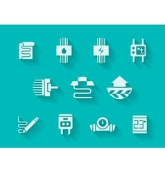 White modern icons for heating system vector image