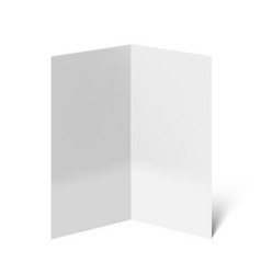 3d blank half folded leaflet with shados on white vector image