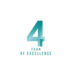 4 year excellence template design vector