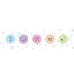 5 exotic icons vector