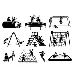 Active children playing at playground stick vector