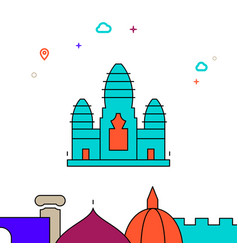 Angkor wat cambodia filled line icon simple vector