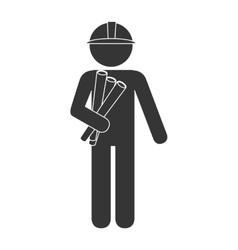 Architect plan helmet construction icon vector
