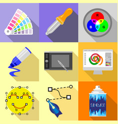 artist equipment icons set flat style vector image