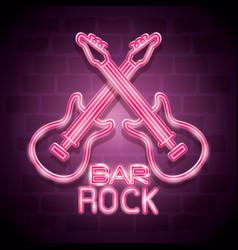 bar rock music neon label vector image