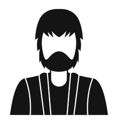 Bearded man avatar icon simple style vector
