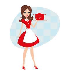 Beautiful waitress serves dinner vector