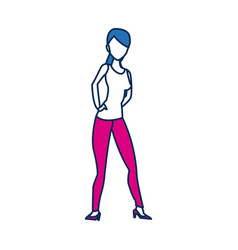 Beauty woman standing character in blue and vector