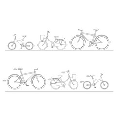 Bicycle set for family ride vector