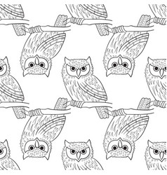 Big-eared owl a seamless pattern in the handdrawn vector