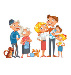 Big happy family funny cartoon character vector