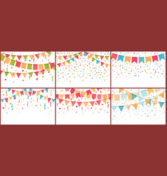 birthday party bunting and confetti color paper vector image